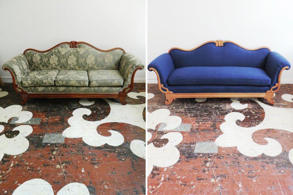 Reupholstered Victorian Sofa