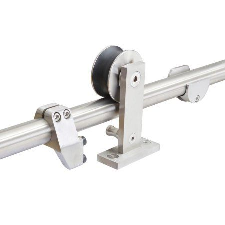 Calhome Top Mount 60 in. Stainless-Steel Barn Style Sliding Door Track and Hardware Set