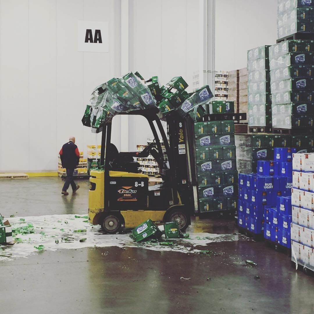 And That Kids Is Why The Forklift Has An Overhead Guard
