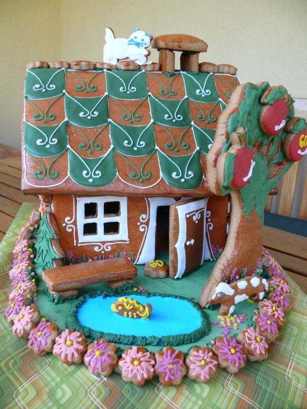 Gingerbread Checkered Roof Gingerbread Houses Galletas