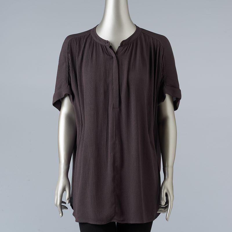 Women's Simply Vera Vera Wang Simply Separates Crinkle Top, Size: XL, Grey