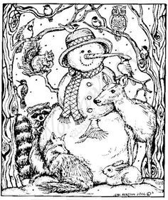 Northwoods Rubber Stamps - Wood Mounted - Snowman and Forest ...