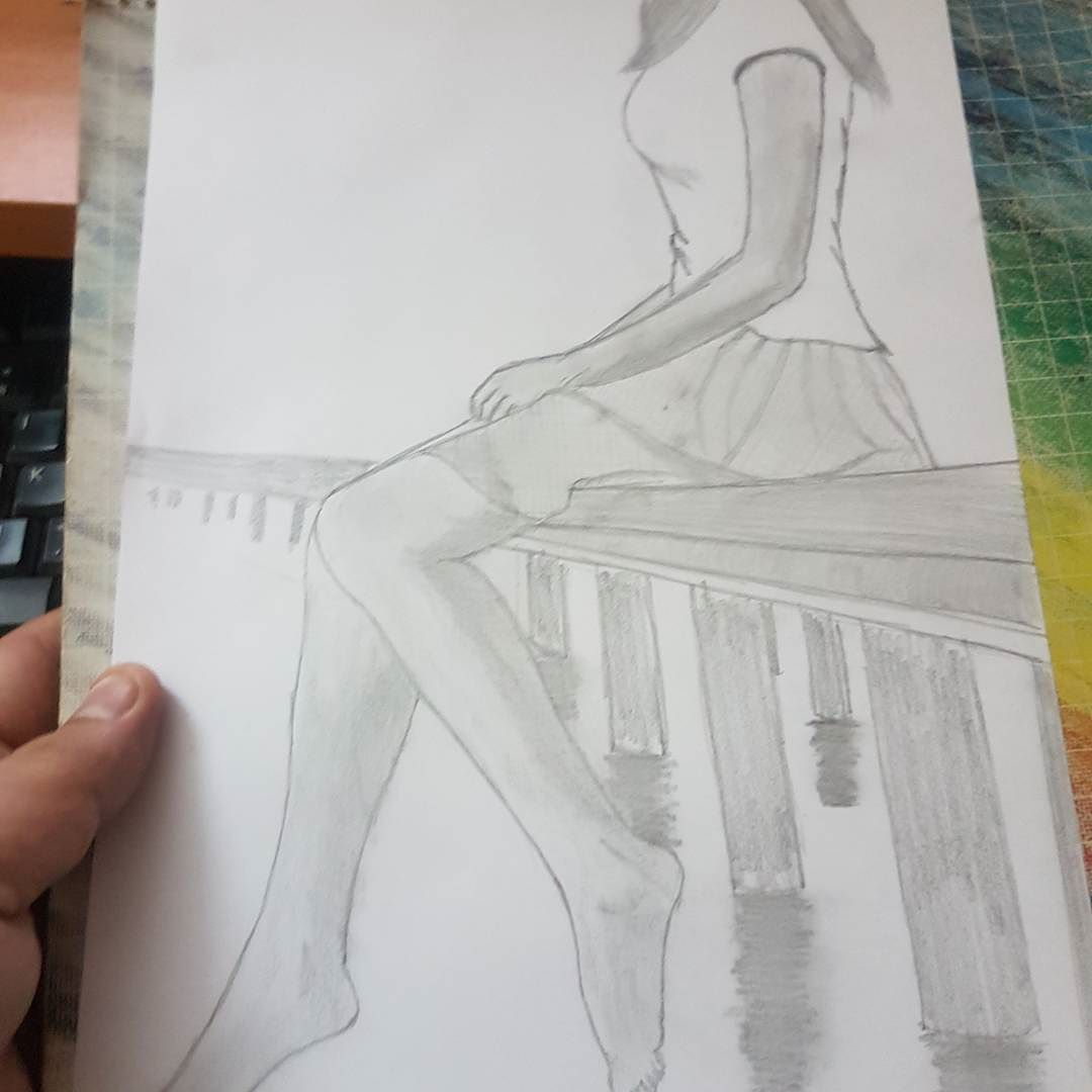 Pencil sketch girl lonely bridge water mannualag