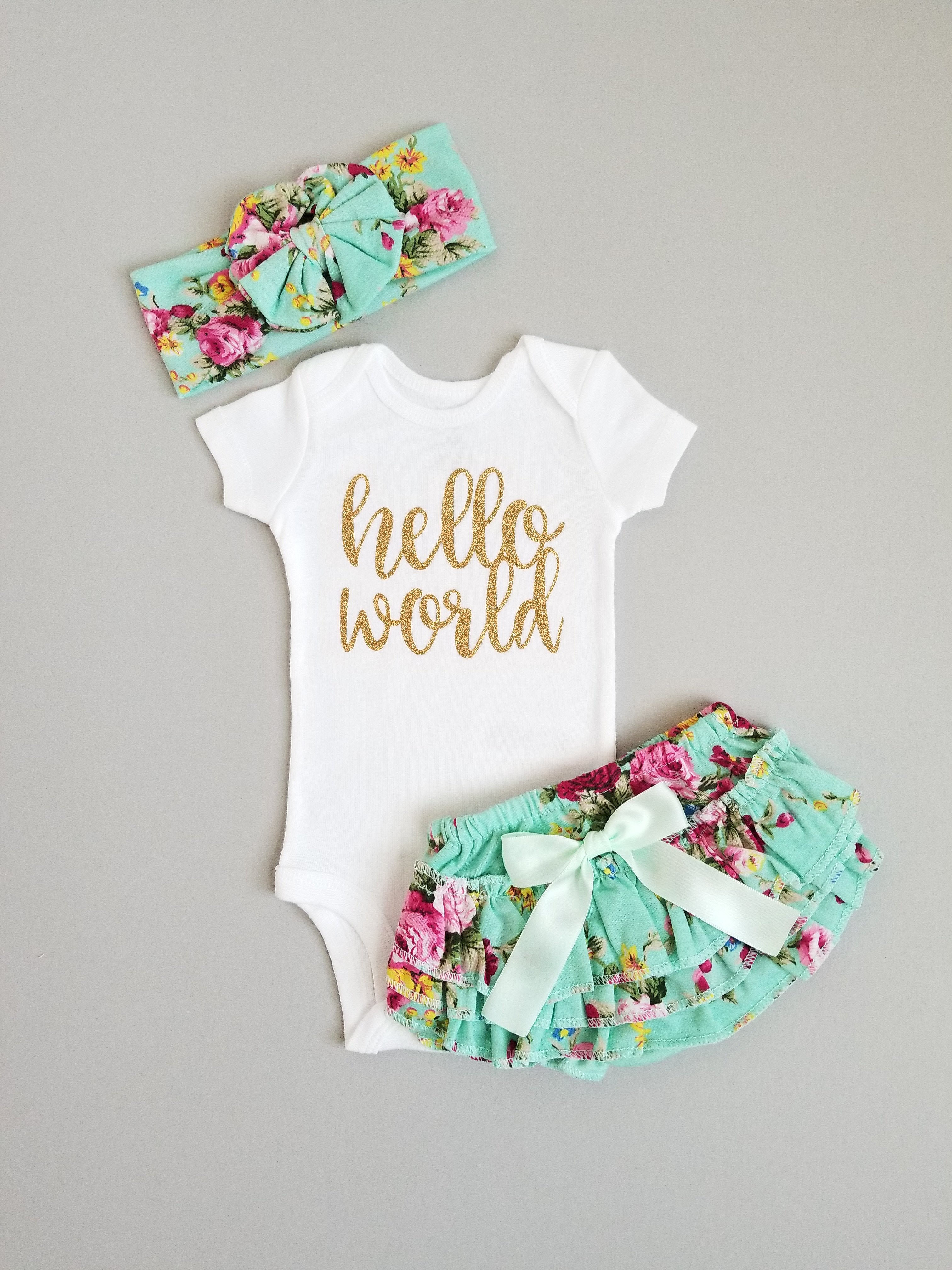 e109016c4db26 Emma Hello World Newborn Outfit Hello World Bodysuit Coming Home Outfit Girl