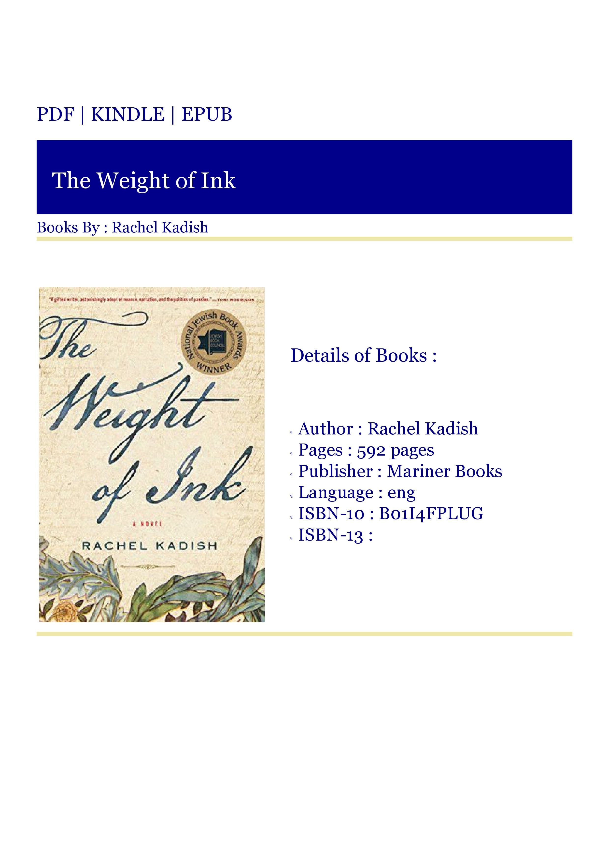 ***Download Now The Weight of Ink in 2020 Good books