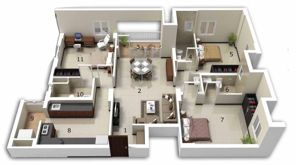 Ordinary 3 Bhk Home Design Layout Part - 7: Big Bedroom, Built In Closets, And A Bathroom For Each Bedroom Is Really A  Dream Scenario. A Cozy Dining Room Rounds Out The Design.