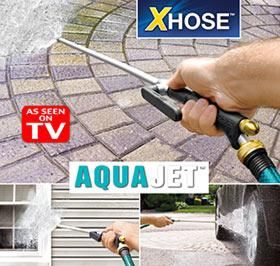AQUA JET™ TURNS YOUR X HOSE™ INTO A POWER WASHER! Hose Attachment Comes  With 2 Spray Nozzles: One That Creates A Powerful Stream, The Other A  Gentle Fan ...