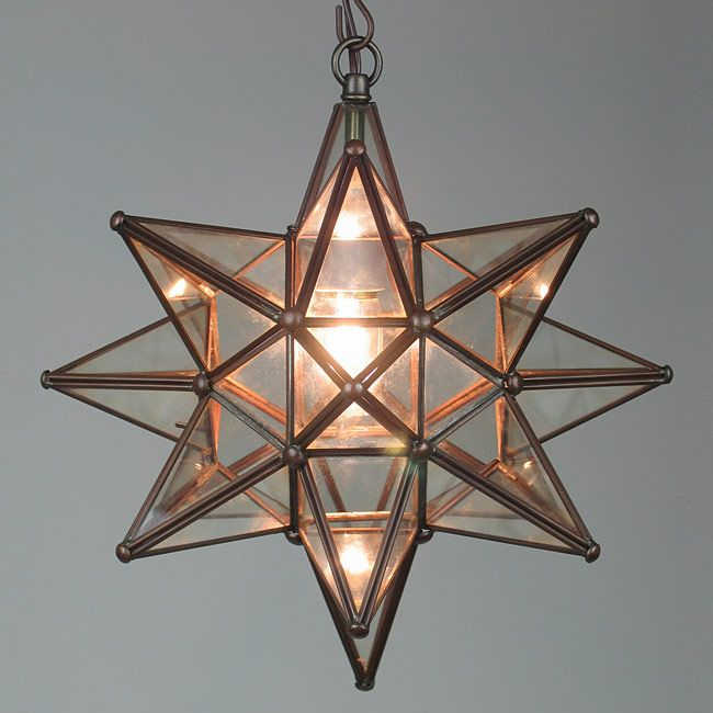 Small Copper And Gl Star Light Fixture