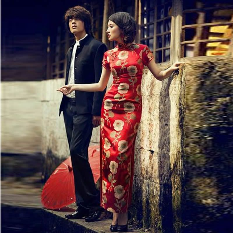 4f2426019 Red Satin Sexy Long Cheongsam Dress Modern Qipao Dresses Casual Women Qi  Pao Chinese Traditional Dress