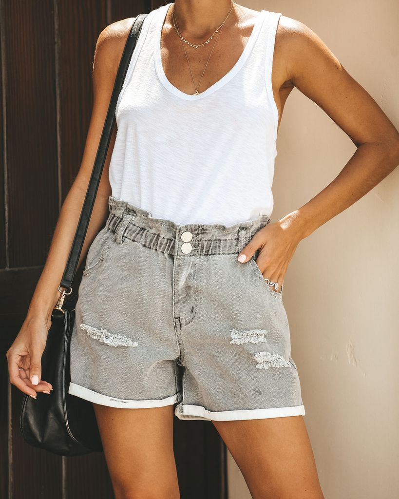 f348b0662b Click to shop our website or follow us at @VICIDOLLS for all the latest  updates + fashion inspo!Cloudy Skies Pocketed Paper Bag Waist Denim Shorts