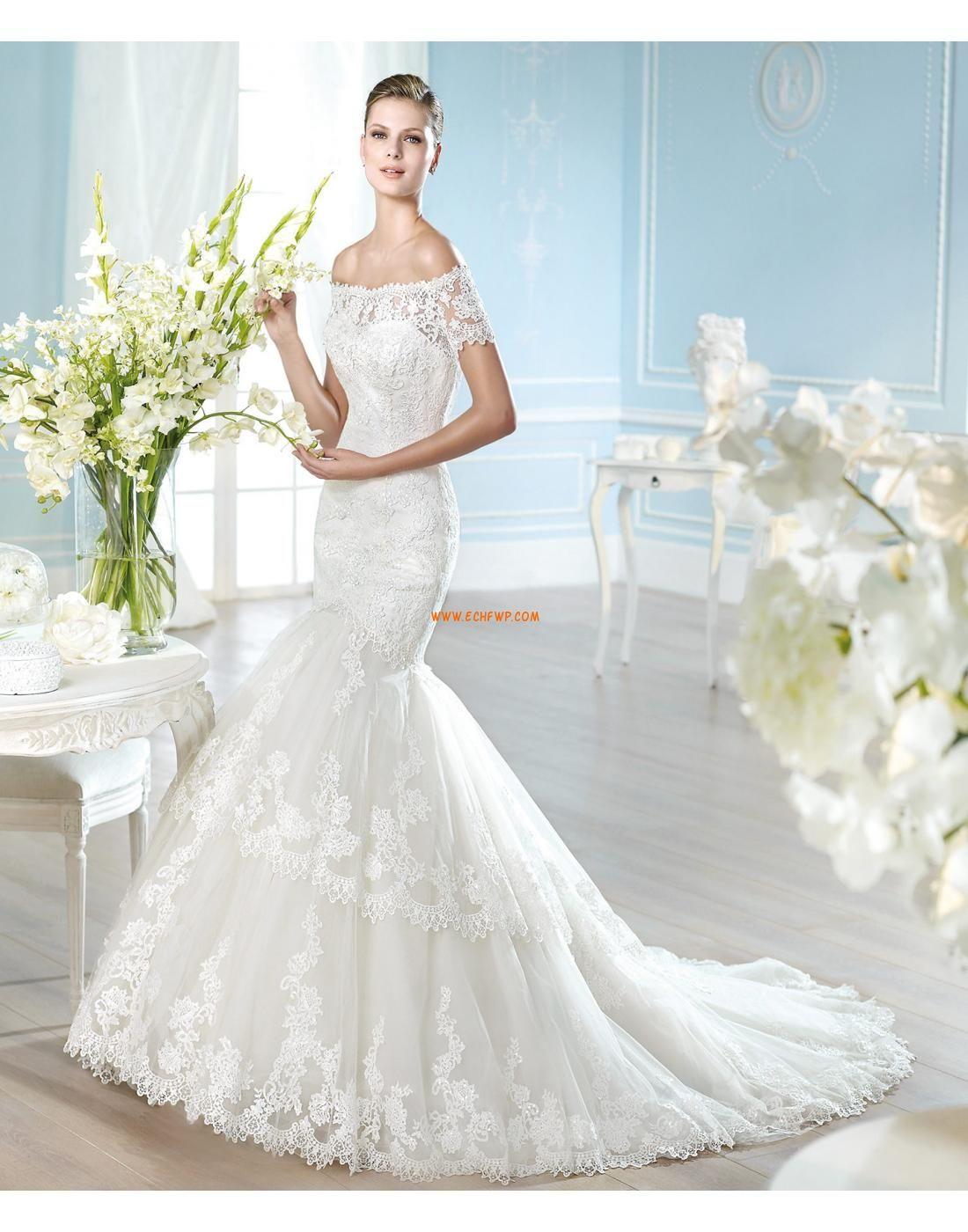 Garten / Outdoor Birne Spitze Designer Brautkleider | Billig ...