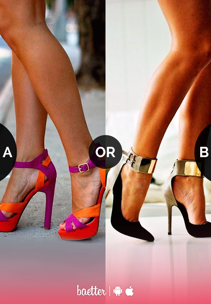 87dd4fdbe24a Which heels would you wear to a dinner date  Orange and pink or gold and  red  Vote on Baetter App.
