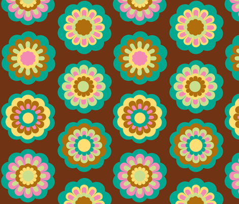 retro flowers on brown  - large rows fabric by uzumakijo on Spoonflower - custom fabric