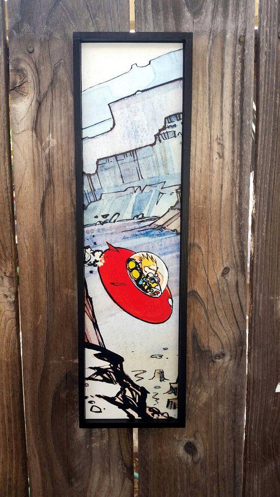 Calvin and Hobbes Spiff Going Down Framed Print