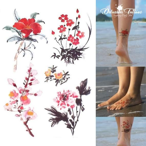 Realistic temporary tattoo set. Chinese ink flower designs (set of 5). Popular places are