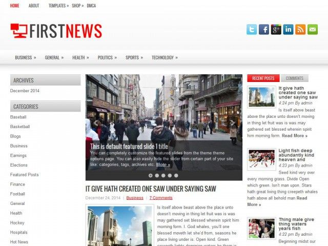 FirstNews wordpress theme free download. It is very famous seo ...