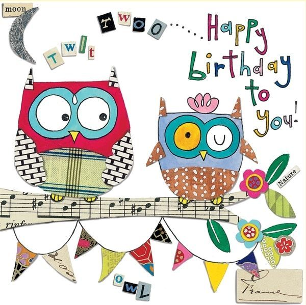 Owls Birthday Card Happy Birthday Owl Happy Birthday Greetings Owl Birthday