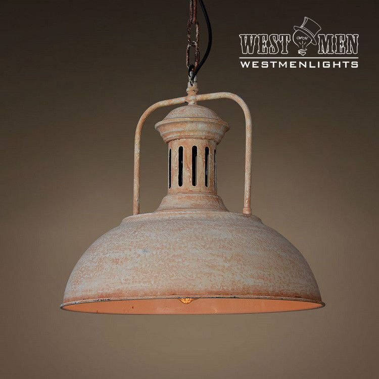 Industrial Wrougth Iron Rustic Pendant Light Hanging Lamp Art Deco Kitchen White