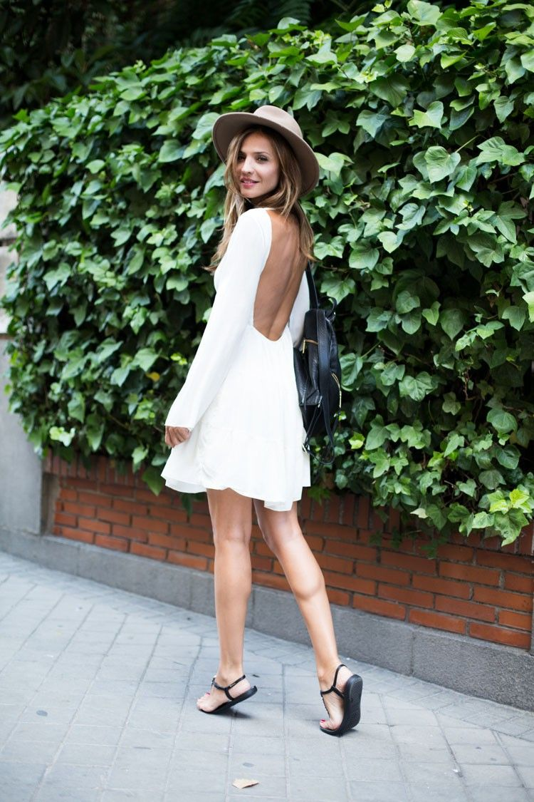 4420a406349c96 Silvia Garcia pulls of a backless white dress with contrasting black sandals!Dress   Shein
