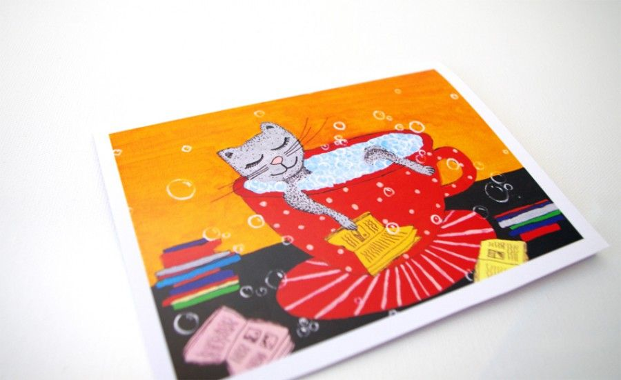 Book Birthday card - Funny birthday cards for kids - Funny Greeting cards for her - Blank card - Funny Birthday card for Mom - Book art card Childrens