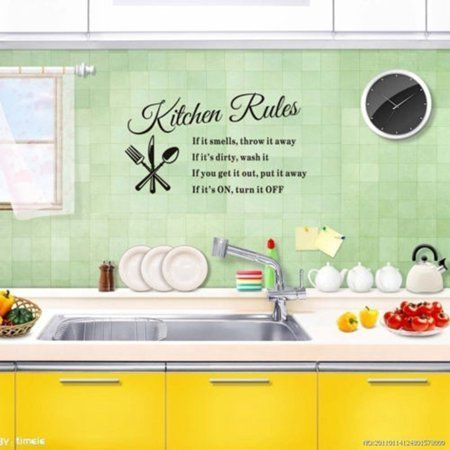 Home Improvement #kitchenrules 1pcs Removable Kitchen Rules Words Wall Stickers Decal Home Decor,23.62 inchx 12.99 inch, Size: 60x33cm/23.62x12.99, Black #kitchenrules