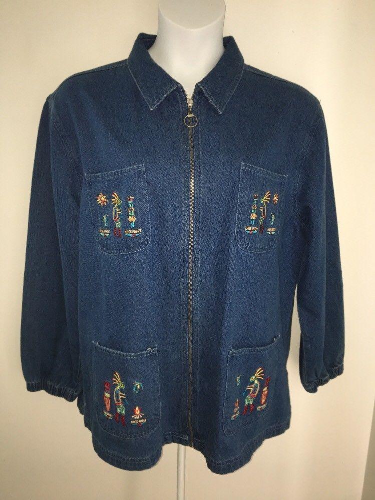 Zip Front Denim Jacket Sz Xl Kokopelli Embroidered 4 Patch Pockets