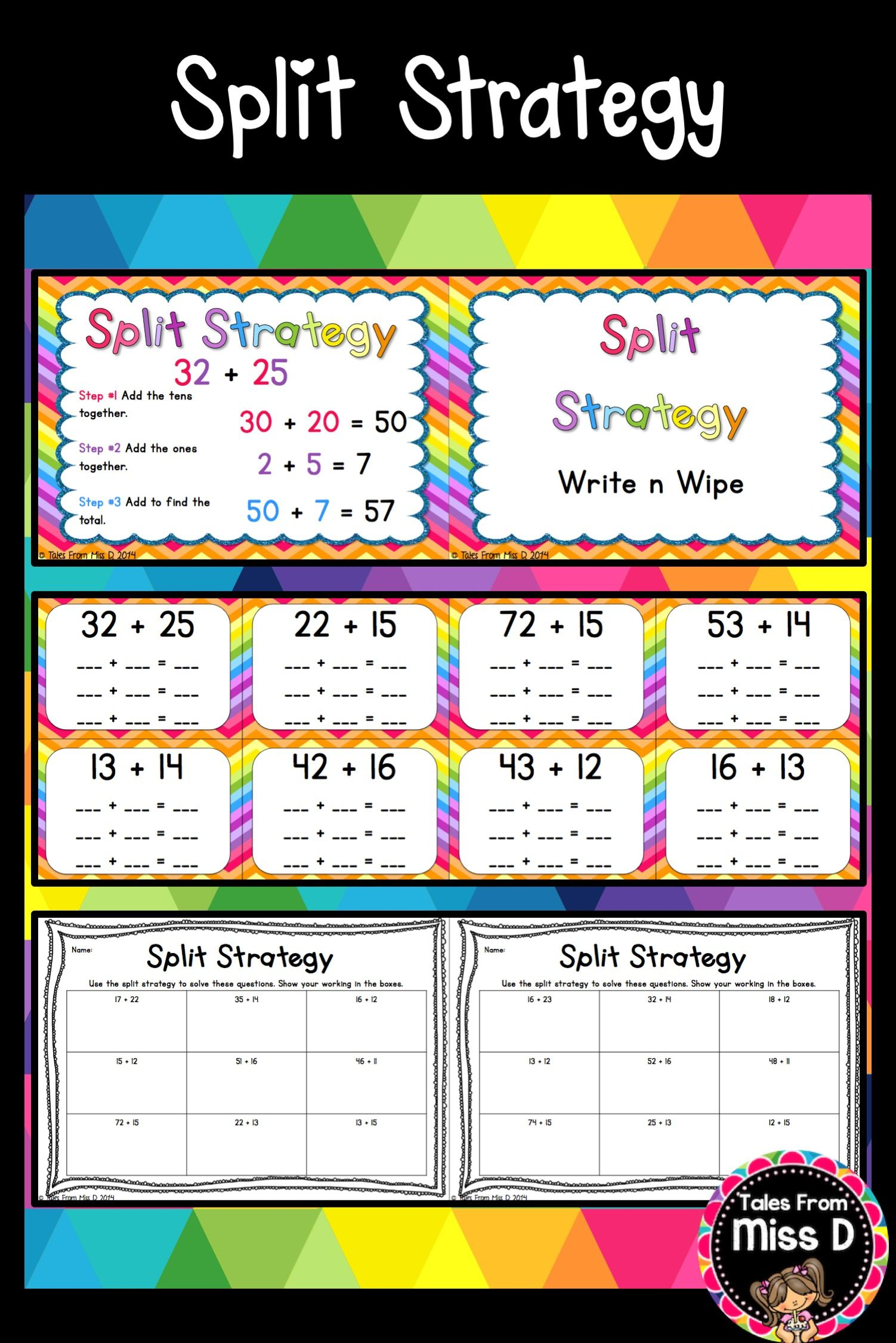This Pack Will Help You Teach The Split Strategy For Addition To Your Class Included 1 Poster