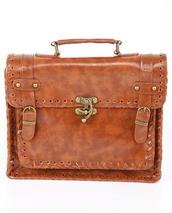 Pony Express Structured Brown Handbag $37.00
