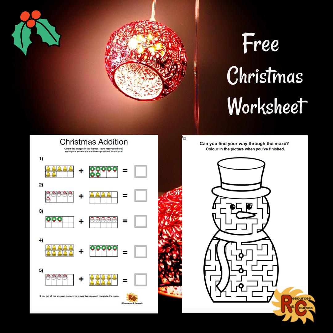 Christmas Addition Maze Free K 1