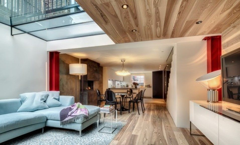 Simple Wooden Ceiling Living Room Duplex House Simple House