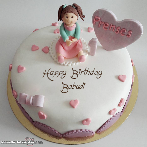 The Name Babudi Is Generated On First Birthday Cake For Sister