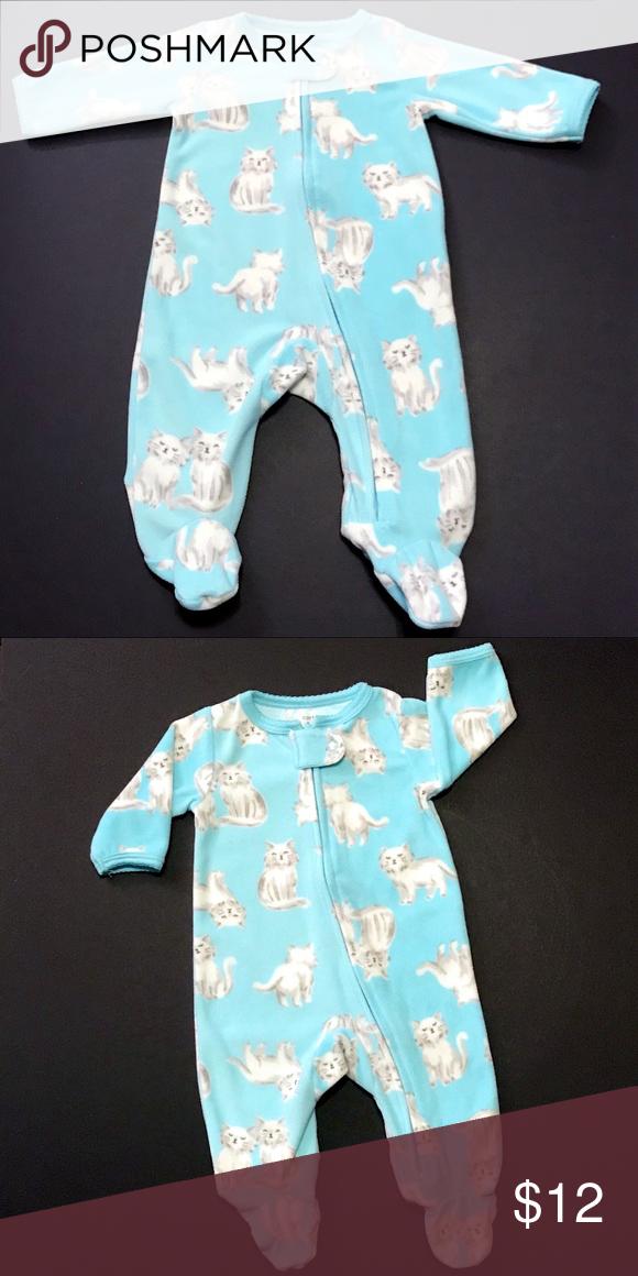 a866d27c7acf SOLD Carter s Newborn Fleece Cat Footie Pajamas