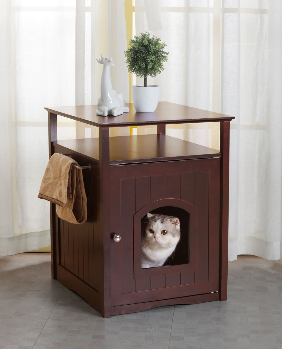 Cat Washroom Litter Box Cover Night Stand Pet House Espresso Cat