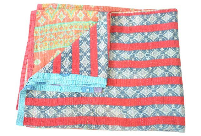 Striped & Block Reversible Kantha Throw
