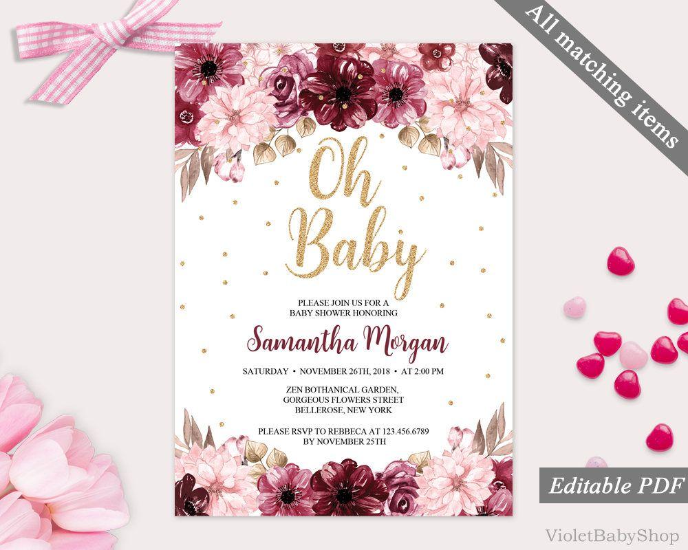 Marsala Baby Shower Invitation Template Printable Burgundy Floral Baby Flower Baby Shower Invites Gold Baby Shower Invitations Floral Baby Shower Invitations