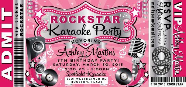 VIP Rock Star Karaoke Birthday Invitation DI8018 Custom – Rockstar Party Invites