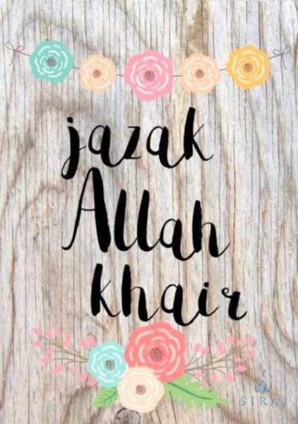 Jazakallah Khair Card In 2021 Muslim Greeting Islamic Birthday Wishes Thank U Cards