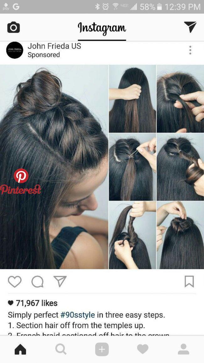 half up braid top-knot - #braid #topknot | frauenhaarwebart