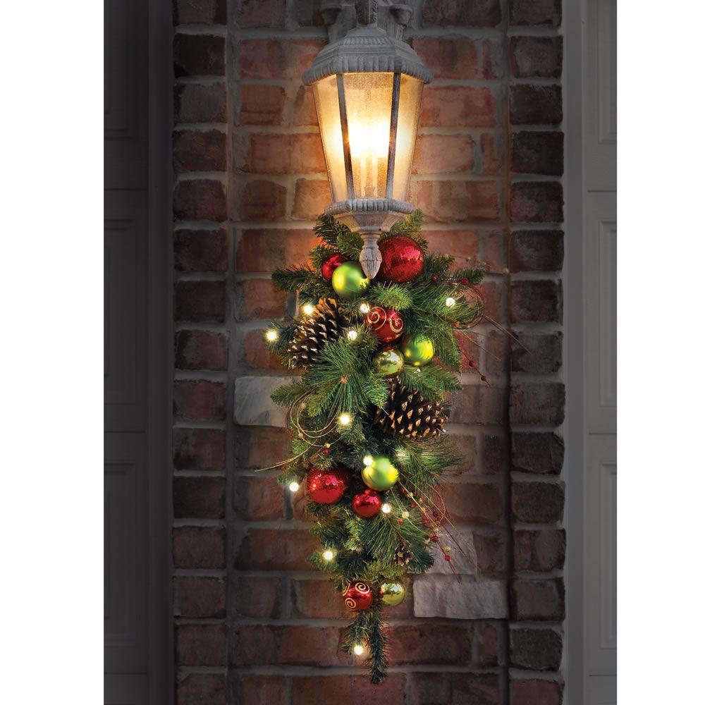 Teardrop Christmas Lights.The Cordless Prelit Ornament Holiday Trim Deck The Halls