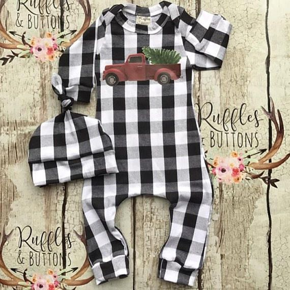 Photo of Buffalo plaid romper, first Christmas , baby boy pull on romper, take home set, baby shower gift, boutique infant outfit, vintage truck