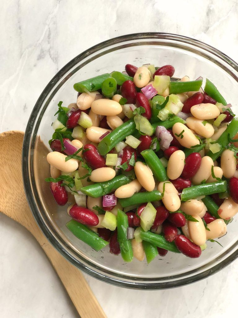 Three Bean Salad With Green Beans Navy Beans And Cannelloni Beans Bean Salad Three Bean Salad Blanching Green Beans