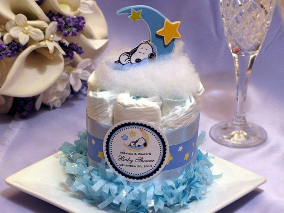 BABY SNOOPY Mini Diaper Cake Centerpiece Baby Shower Sleepytime Sports    Ordered!