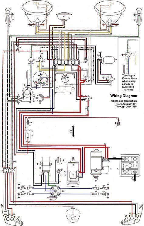 Wiring Diagram Vw Beetle Sedan And Convertible 1961 1965 Vw Super Beetle Vw Beetles Electrical Diagram