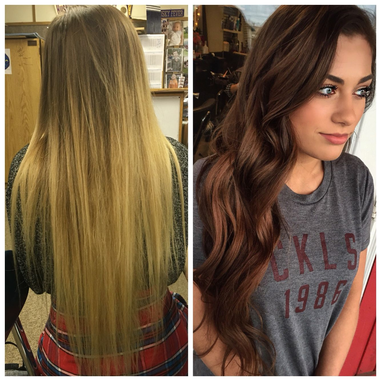Before And After Blonde To Brunette Hair Hair Styles Brunette Hair Permed Hairstyles