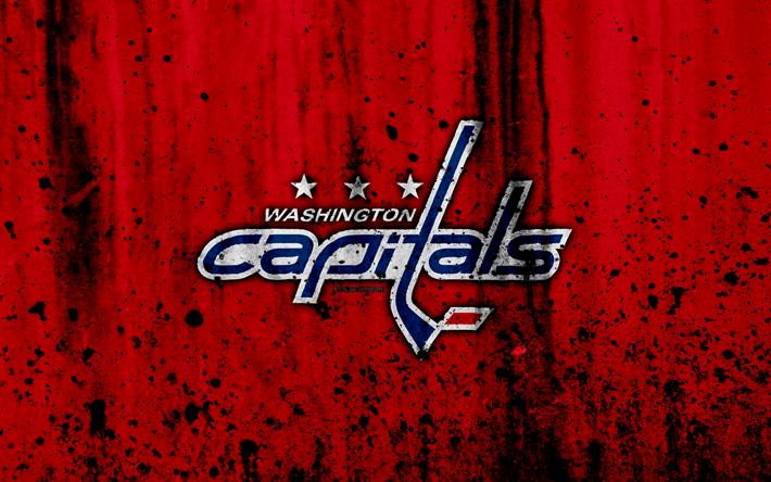 Download wallpapers 4k, Boston Bruins, grunge, NHL, hockey, art, Washington Capitals, USA, logo, stone texture, Caps, Metropolitan Division