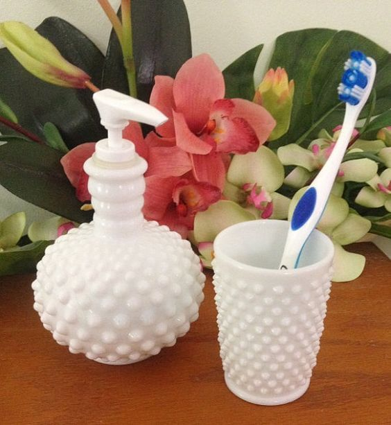 Great Soap Dispenser, Milk Glass And Soaps On Pinterest