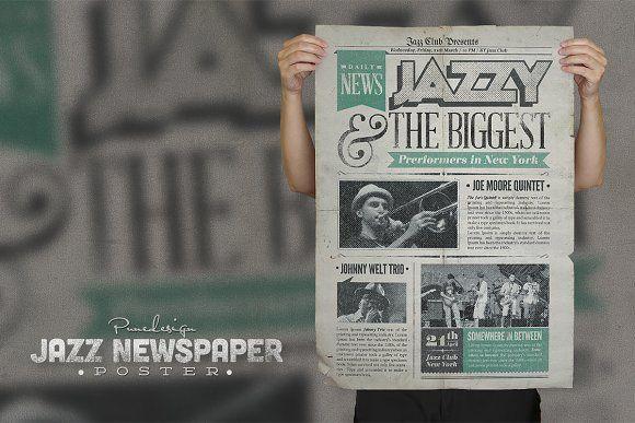 Jazz  Vintage Newspaper Poster By Punedesign On Creativemarket