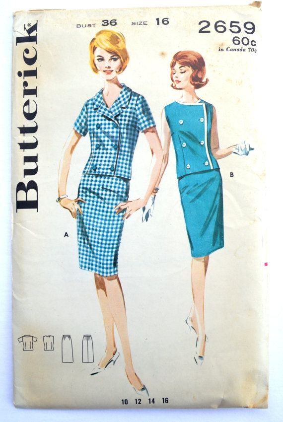 Butterick Sewing Pattern 2659 . . . . dated 1960s  Double breasted, semi-fitted jacket, straight skirt (A) notch-collared collar, short set in sleeves (B) sleeveless, collarless jacket, contrast fabric trim  size 16 bust 36 inches waist 28 inches hip 38 inches  all pattern pieces are included pattern is used but in excellent condition