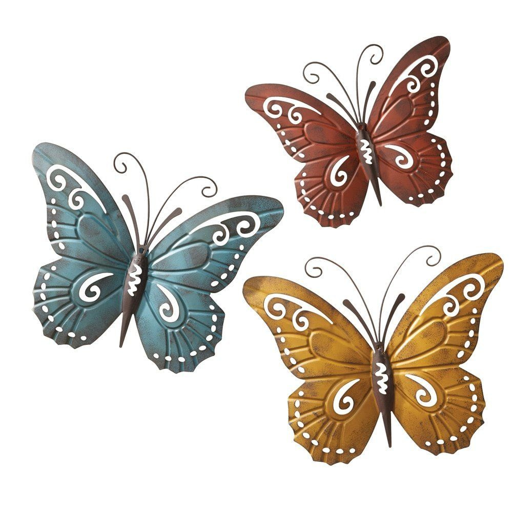 Amazon nature inspired metal butterfly decorative wall art trio