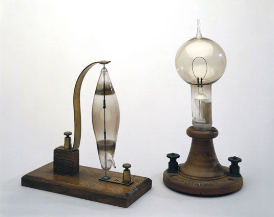 Electric Lightbulb. Invented by Thomas Edison in 1879. It helped ...:Electric Lightbulb. Invented by Thomas Edison in 1879. It helped light the  factories and,Lighting